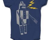 Robot Onesie, Navy Blue Robot baby bodysuit rad one piece geeky nerdy awesome baby clothes infant original screen print design sci-fi sparks