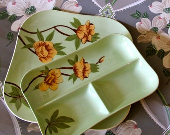 Vintage Weil Ware, Yellow Rose Relish Dish Serving Plate, 2 Weil Serving Pieces, Mixing Ceramics, Weil Ware, Cottage Chic Dining, Farmhouse