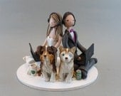 Seated Bride & Groom with Dogs Personalized Wedding Cake Topper - reserved for hd173106