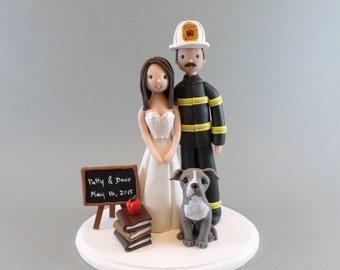 Cake Toppers - Firefighter & Teacher Custom Wedding Cake Topper