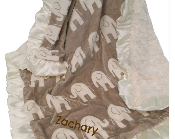 Brown Elephant and Cream Ruffle Minky Baby Blanket, 3 sizes Can Be Personalized