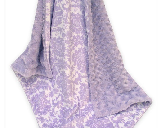 Lavender Damask and Swirl Minky Baby Blanket, Light Purple Damask Minky Blanket,  Can Be Personalized