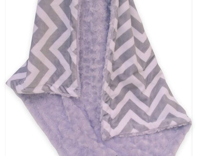 Lavender Minky Swirl and Gray Chevron Minky Baby Blanket, Lavender and Gray Baby Blanket Can Be Personalized