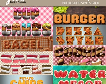 Food STYLES for Photoshop, text effects, ASL PNG and psd files, alphabets for scrapbooking