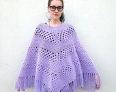 Vintage LILAC Purple Handmade KNIT Crochet PONCHO Sweater with Fringe Grandma Shawl Handmade Knit Poncho
