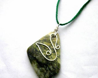 Connemara marble Swan pendant. Reversible Celtic Pendant, Irish Myth