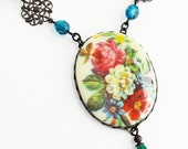 Floral Statement Necklace Large Flower Pendant Vintage Floral Cameo Necklace Rose Cameo Jewelry Victorian Rose
