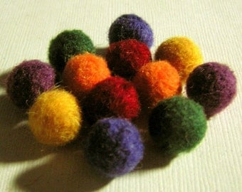 Felt Balls - Needle Felted Balls - Crayon Rainbow Mix - Felted Beads - Wool Colorful Beads - Wooly Colors of the Rainbow Ball Beads