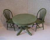 Dollhouse Kitchen table, kitchen chairs, round table, Sage green table, sage chairs, country table, twelfth scale, dollhouse miniature
