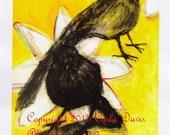Blackbirds in Yellow Print