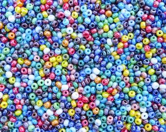 6/0 Opaque Rainbow Luster Mix Czech Glass Seed Beads 20 Grams (CS47)