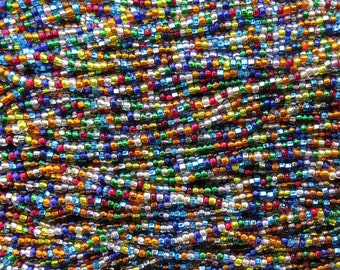 8/0 Transparent Silver Lined Rainbow Mix Czech Glass Seed Bead Strand (CW65) SE