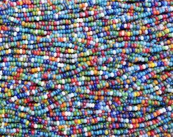 8/0 Opaque Rainbow Luster Mix Czech Glass Seed Bead Strand (CW70)