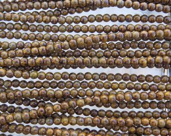 4mm Opaque Yellow Picasso Czech Glass Round Beads - Qty 100 (BS319)