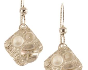 Woven Rain Earrings - Silver
