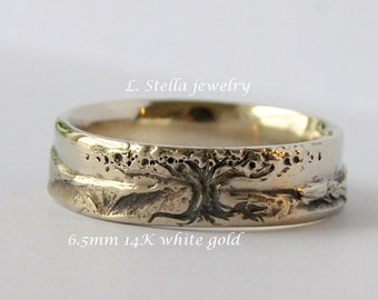Wedding Band, Tree Mountain Combined 6.5mm,14K Gold Landscape women's man's Comfort fit marriage tree of life