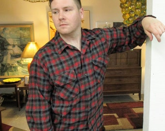 1950s Red & Gray Plaid Wool Flannel Shirt - Rugged Lumberjack - Large