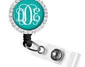 Monogram Badge Holder, ID Badge Reel, Retractable Badge Reel, Personalized Badge Reel (382)