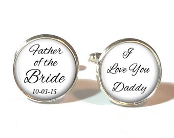 Father of the Bride Cufflinks, Father of the Bride Tie Clip, Wedding Cufflinks, Style 618
