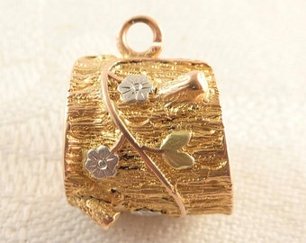 Antique Victorian Rotary International Masonic Symbol 14K Gold Tree Stump Charm with Rose and Yellow Gold Applied Flowers & Leaves