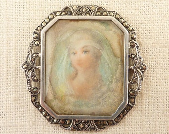 SALE ---- Antique French Hand Painted Portrait Plaque in .935 Silver and Marcasite Art Deco Frame