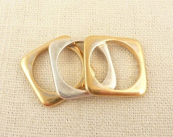 Size 8 Vintage Gold Wash Sterling Flat Square Stacking Rings from Banana Republic
