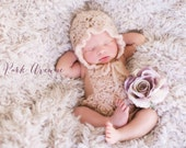 Newborn Romper With Matching Bonnet Baby Girl Photo Prop