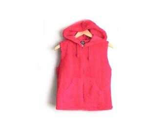Size XS/S // FUZZY HOODIE // Bright Red - Zip-Up Vest - Sleeveless - Vintage '90s Club Kid.