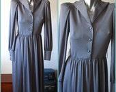 Vintage 70s Dark Gray Pewter Button Down Dress Size 10