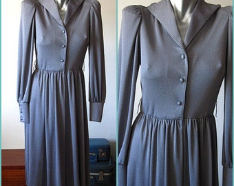 Vintage 70s Dark Gray Pewter Button Down Dress Size 10