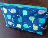 Cute Spouting Whale Cosmetic and Toiletry Zipper Bag