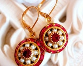 Christmas Jewelry - Red - Victorian Earrings - Crystal Cluster Earrings - AURORA Festive