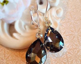 Spring Jewelry - Black Earrings - Victorian Earrings - Grey Crystal Earrings - Bridesmaid Gift - MAYFAIR Black Diamond