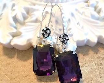 Art Deco Jewelry - Dark Purple Earrings - Art Deco Earrings - Rhinestone Earrings - MADELINE Purple