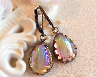 Victorian Jewelry - Aurora Borealis Earrings - Victorian Earrings - Best Bridesmaid Gift - Estate Style Jewelry - ASHFORD Looking Glass