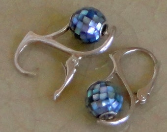 Abalone Mosaic Sterling Silver Leverback Earrings Free Shipping