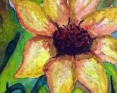 Original Art Yellow Flower Spring Floral Mixed Media ACEO Painting