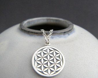 "silver Flower of Life necklace. sterling zen yoga yogi jewelry. spiritual pendant. kabbalah geometric charm. sacred geometry. gift 5/8"""