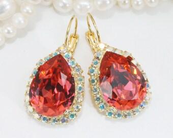 Coral Teardrop Earrings Bridal Swarovski AB Halo Crystal Estate Pear Shape Drop Bridesmaids Earrings Coral Wedding,Gold,Padparadscha,GE101