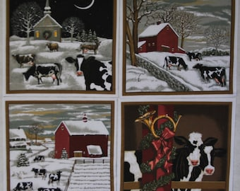 4 Christmas Cows in the Country Quilt or Pillow Blocks