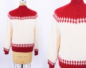 1950s sweater vintage 50s fair isle red cream winter knit sweater S/M