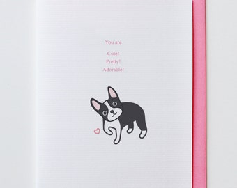 Adorable Boston Terrier - Anniversary Card, Valentine Card, I Love You Card, Funny, Unique, Boston Terrier, Cute, Kawaii, Dog, Animal Card