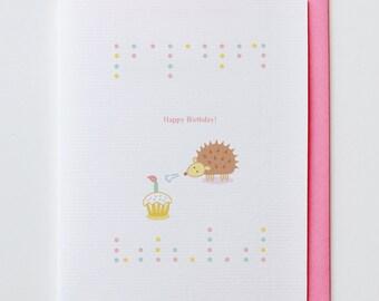 Hedgehog Birthday Card - Kawaii, Cute, Happy Birthday, Greeting Card, Cupcake, Animal Card, Funny, Unique, Cupcake, Candle
