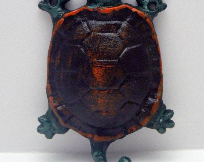 Turtle Cast Iron Wall Hook Green Orange Sea Life Beach Nautical Decor