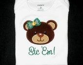 Custom Personalized Applique Girl or Boy BAYLOR BEAR Sic Em or Name Bodysuit or Shirt - Brown, Tan, Green, and Yellow Gold