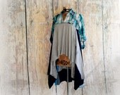 Boho Lagenlook Top Blue Plaid Shirt Upcycled Fashion Women's Eco Wear Bohemian Chic Artsy Art To Wear Tunic Hi Lo Country Western M 'HETTIE'