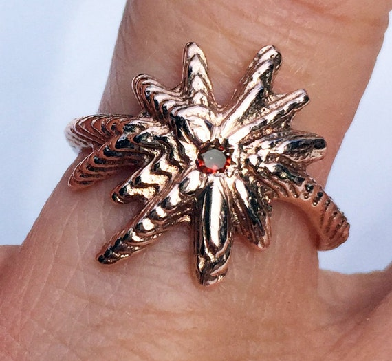 Rose Gold and Red Cognac Diamond Starburst Ring