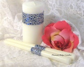 Bling Unity Candle Set Royal Blue Romantic Wedding Candle 5.5 inch Pillar 9 inch Pillar Color, Size & Ribbon Choice Candle Stand Optional