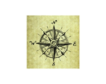 COMPASS RUBBER STAMP~Vintage~Rose~Navigation~Nautical~Ocean~Rustic Wedding~Sketch Illustration~Sea Coast~Seaside~Unmounted~Cling (53-15)