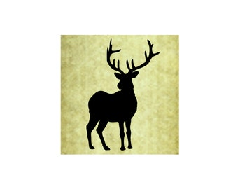 DEER BUCK SILHOUETTE Rubber Stamp~Large Cling Stamp~Stag~Antlers~Solid~Christmas~Holiday~Thanksgiving~Fall~Autumn~Forest (54-13)